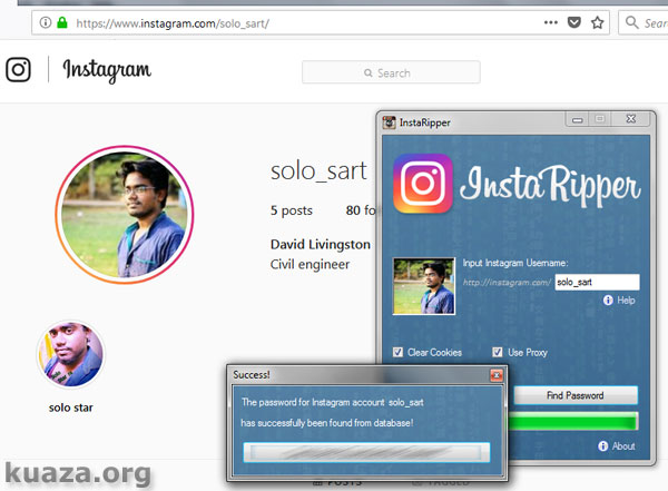 Hack Instagram account with Brute-force method | Kuaza